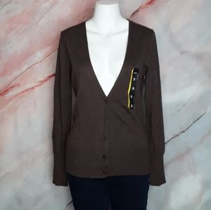 MOSSIMO Brown V-neck Button Up Cardigan